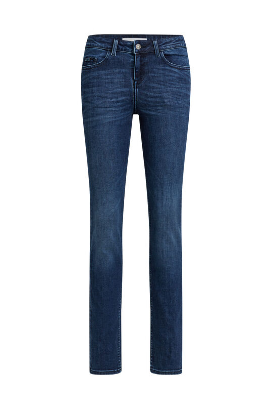 Dames mid rise slim fit jeans met super stretch Donkerblauw