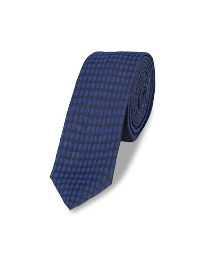 HEREN ALL-OVER DOT PRINT TIE Donkerblauw
