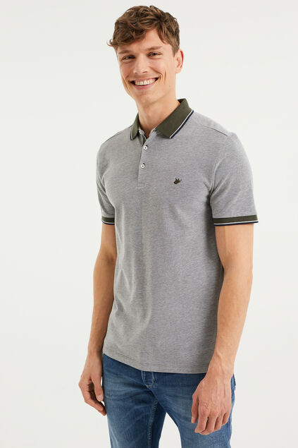 Heren slim fit polo Legergroen