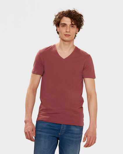 HEREN ORGANIC COTTON T-SHIRT Saffraan rood