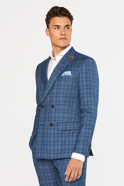 Heren slim fit geruite double breasted blazer Kelso All-over print