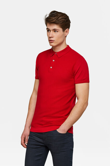 Heren structuur knit polo Rood
