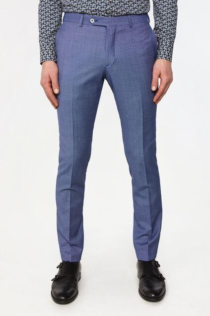 Heren tailored fit pantalon met dessin Vinci Blauw
