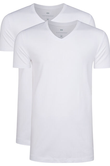 Heren tall fit T-shirt, 2-pack Wit