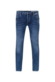 Heren slim tapered jog denim jeans_Heren slim tapered jog denim jeans, Blauw