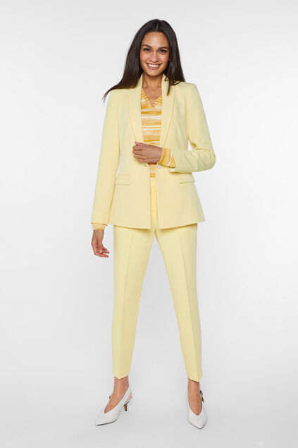 Dames regular fit blazer met stretch Lichtgeel
