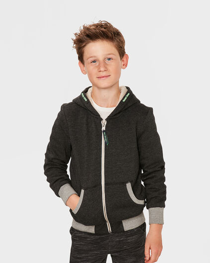 JONGENS TEDDY HOODED VEST Zwart