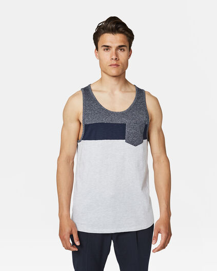 Heren colourblock singlet Marineblauw