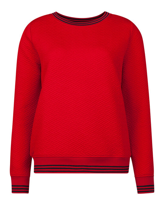 DAMES JACQUARD SWEATER Rood