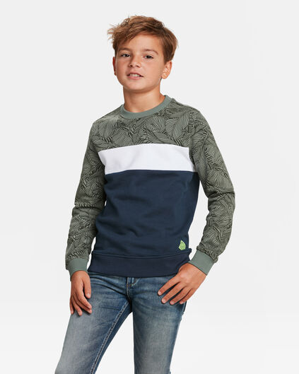 JONGENS COLOURBLOCK SWEATER Legergroen