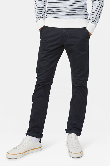 Heren slim tapered effen chino Zwart