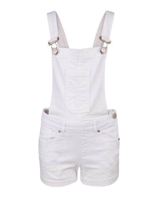 MEISJES REGULAR FIT DENIM TUINBROEK Wit