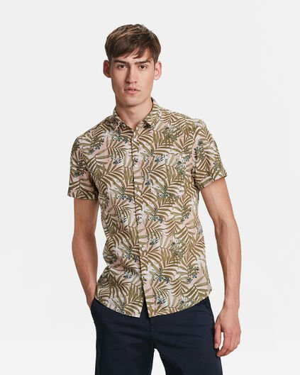 HEREN RELAXED FIT LEAF PRINT OVERHEMD Lichtroze