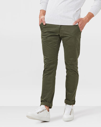 HEREN SLIM FIT CASUAL CHINO Donkergroen