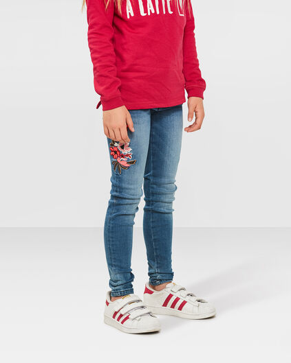 MEISJES SUPER SKINNY POWER STRETCH FLOWER JEANS Blauw