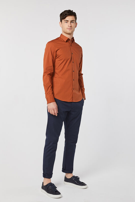 Heren slim fit stretch overhemd Roestbruin