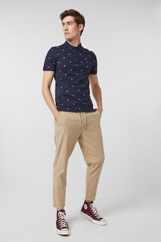 Heren loose tapered linnenmix chino Beige