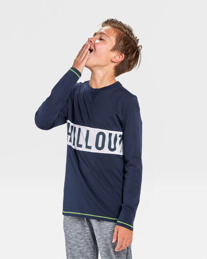 JONGENS CHILL OUT PRINT PYJAMASET Donkerblauw