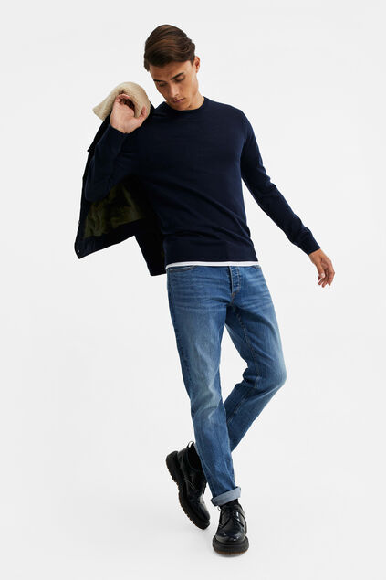 Heren slim fit jeans met super stretch Donkerblauw