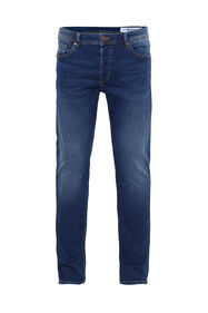 Heren slim tapered jeans met stretch_Heren slim tapered jeans met stretch, Donkerblauw