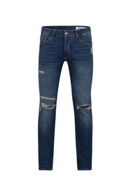Heren skinny tapered comfort stretch jeans_Heren skinny tapered comfort stretch jeans, Blauw