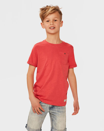 JONGENS ONE POCKET R-NECK T-SHIRT Rood