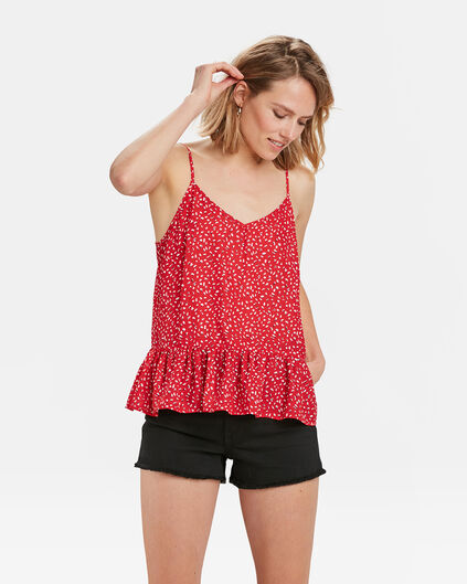 DAMES RUFFLE DOT PRINT TOP Rood
