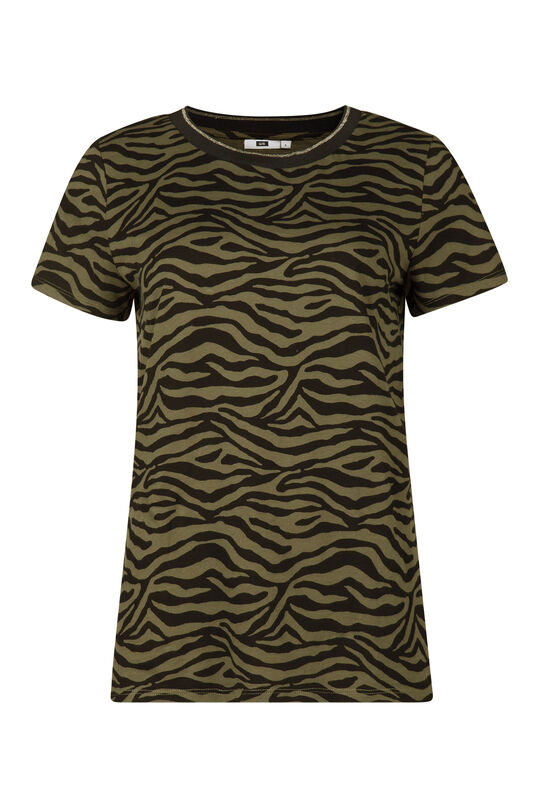Dames zebraprint T-shirt Khaki