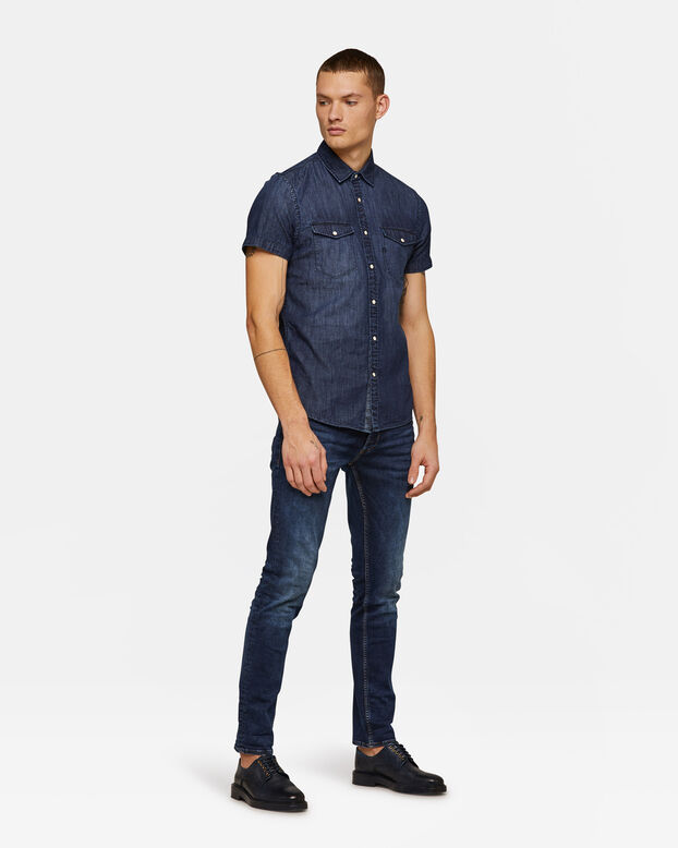 Heren Slim Fit denim overhemd Donkerblauw