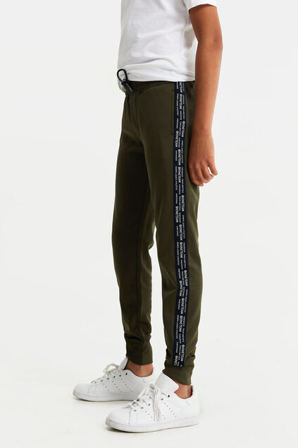 Jongens joggingbroek met tapedetail Legergroen