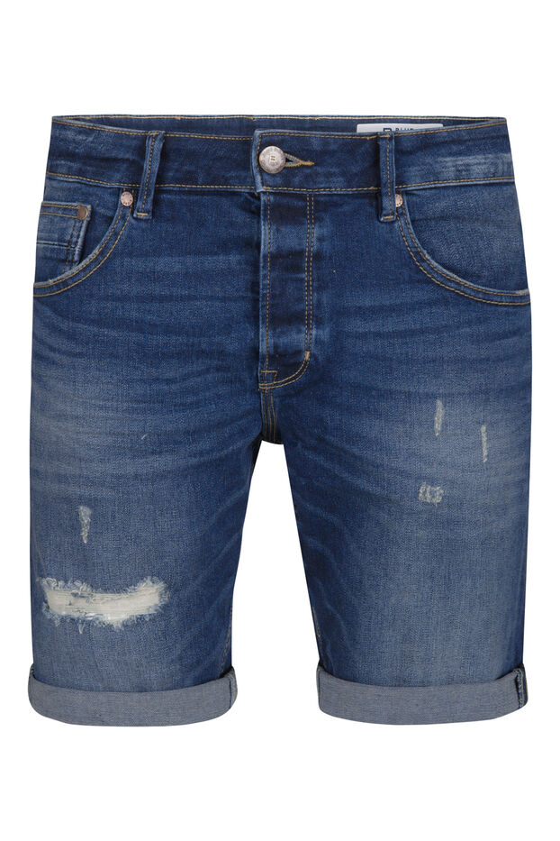 Heren regular fit denim short Donkerblauw