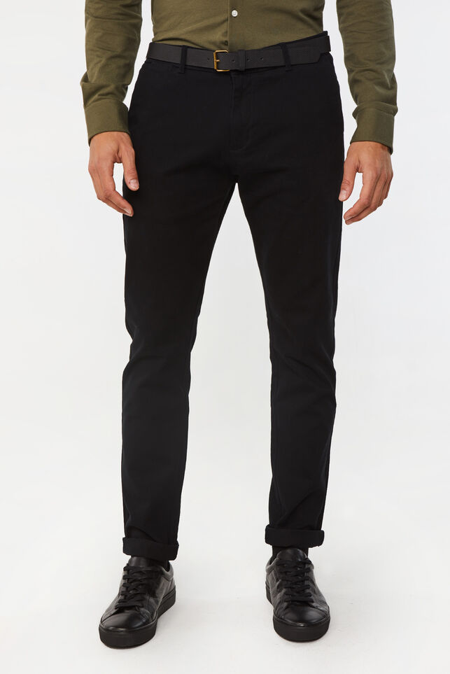 Heren skinny fit effen chino Zwart