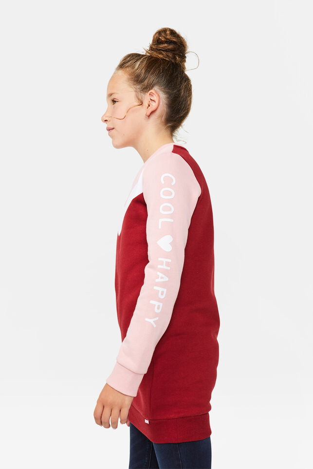 Meisjes colourblock sweatjurk Bordeauxrood
