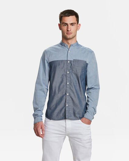HEREN SLIM FIT CHAMBRAY OVERHEMD Grijsblauw