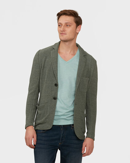 HEREN REGULAR FIT GEBREIDE BLAZER Grijsgroen
