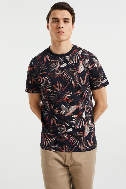 Heren slim fit T-shirt met dessin Zwart