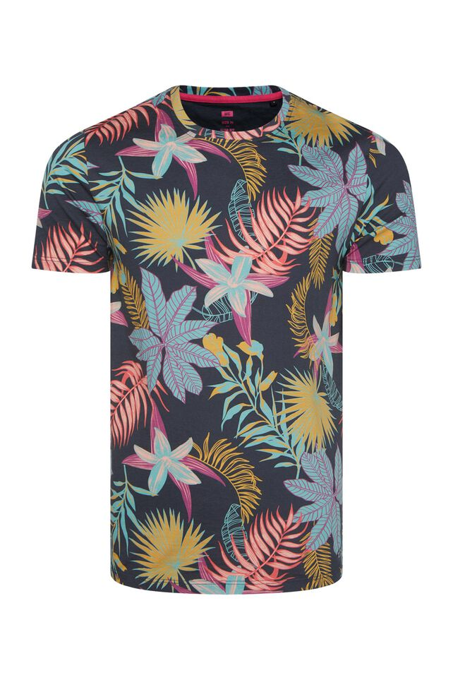Heren T-shirt met bladerendessin All-over print
