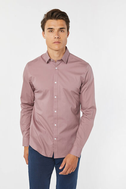Heren slim fit stretch overhemd Oudroze