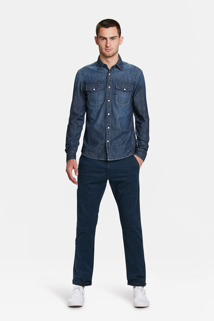 Heren slim tapered effen chino Marineblauw