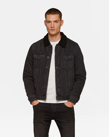 Heren sherpa trucker jacket Zwart