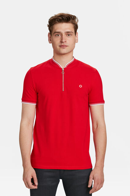 HEREN SPORTY DETAIL POLOSHIRT Felrood