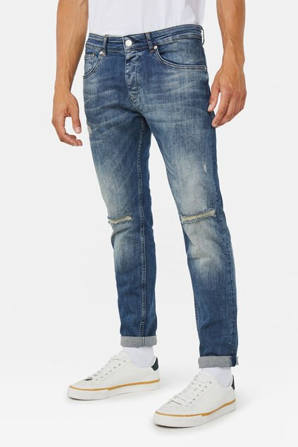 Heren slim tapered stretch jeans Donkerblauw