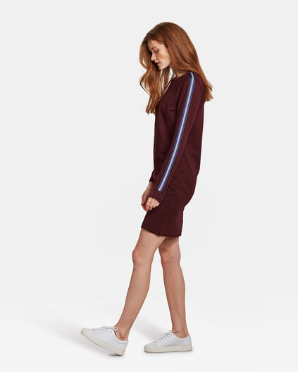 DAMES SPORTY STRIPE JURK Bordeauxrood