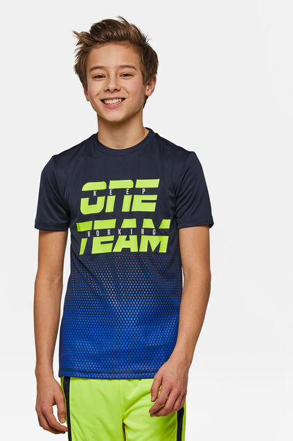 Jongens one team sport T-shirt Blauw