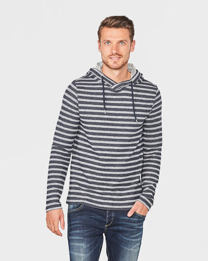 HEREN HOODED STRIPE SWEATER Donkerblauw