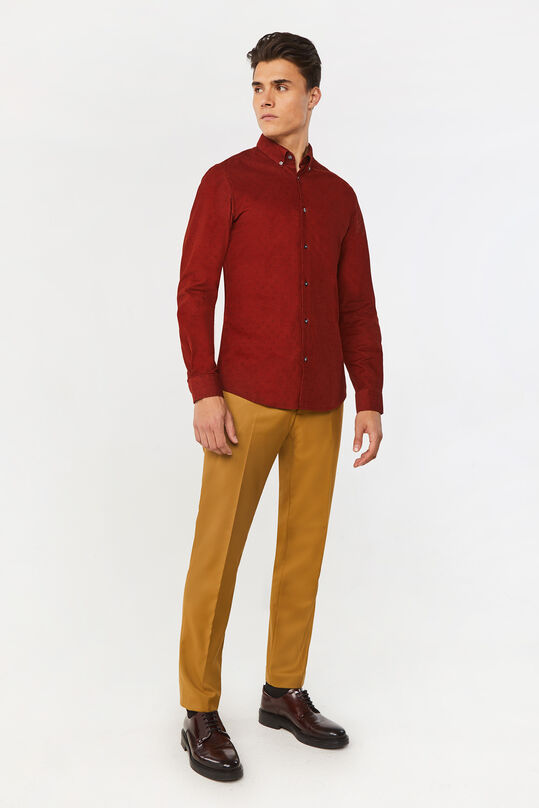 Heren slim fit overhemd van corduroy Donkerrood