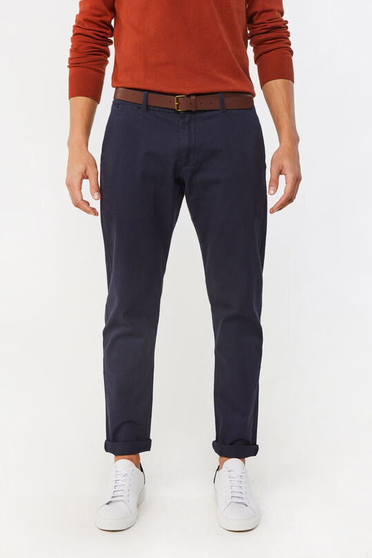Heren slim tapered effen chino Donkerblauw