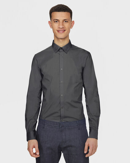 HEREN SLIM FIT STRETCH OVERHEMD Donkergrijs