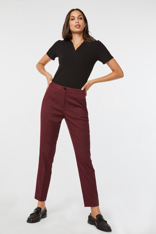 Dames slim fit pantalon Bordeauxrood