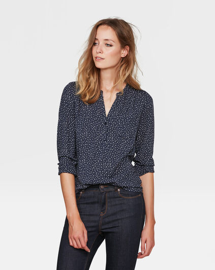 DAMES TRIANGLE PRINT BLOUSE Donkerblauw